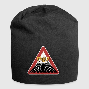 Caution rusty shield courage erupting volcano - Jersey Beanie