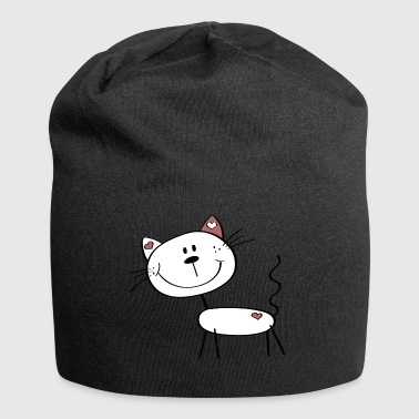 Little cat with little hearts - stick figure cartoon - Jersey Beanie