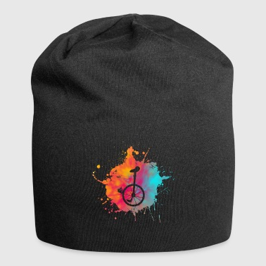 Color speckle unicycle riding gift cycling - Jersey Beanie