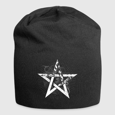 white pentagram with rays - Jersey Beanie