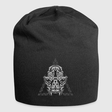 Tribal cat skull dark - Jersey Beanie