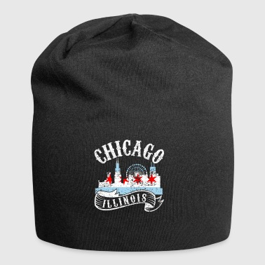 Chicago Illinois Miasto Distressed Vintage - Czapka krasnal z dżerseju