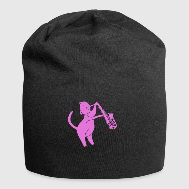 Cat plays saxophone - Jersey Beanie