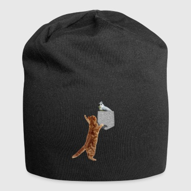 Cat Reaching Tufted Titmouse In Fake Print-On - Jersey Beanie
