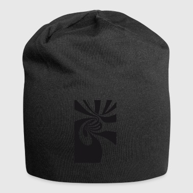 Optical illusion black Disco 70s LSD Labyrinth lo - Jersey Beanie
