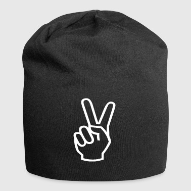 Peace sign in white - Jersey Beanie