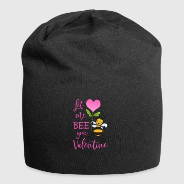 Let Me Bee Your Valentine bee with heart flower - Jersey Beanie