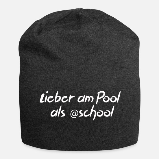 Gift Idea Caps & Hats - Better by the pool than at school - Beanie charcoal grey
