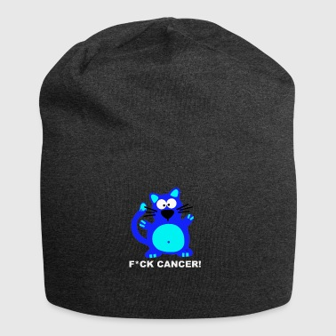 Fuck Cancer Fight Cancer Breast Awareness Cat Blue - Jersey Beanie