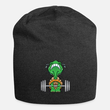 Weight Lifting Funny turtle lifts weights fitness gift - Jersey Beanie