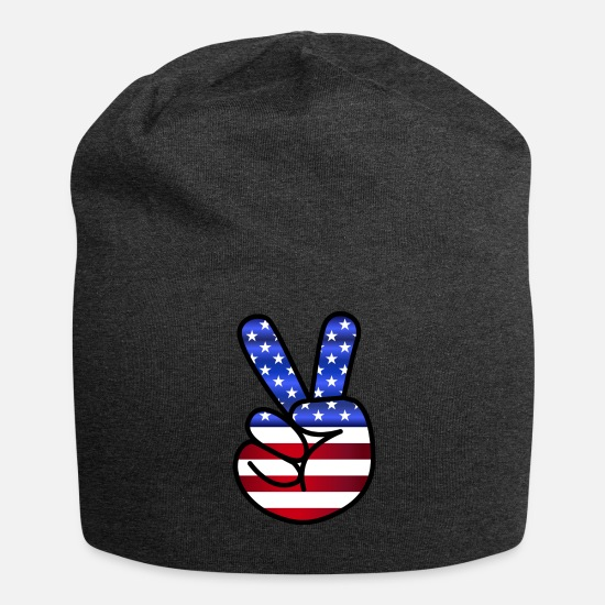 Peacetegn Kasketter & huer - USA Amerika flag fredens tegn Victory - Beanie charcoal