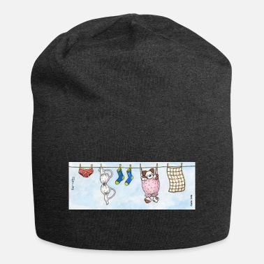 Long Underwear Mug - Cute Fluffy Dog 'Barnaby' on a Washing Line - Beanie