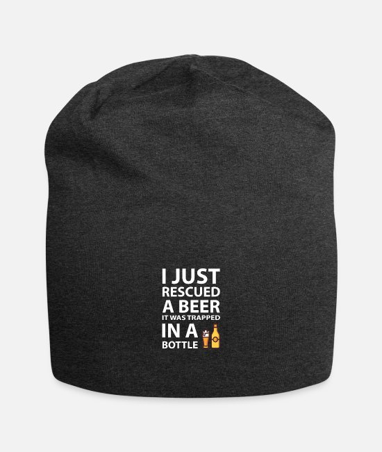 Party Caps & Hats - I rescued a beer! - Beanie charcoal grey