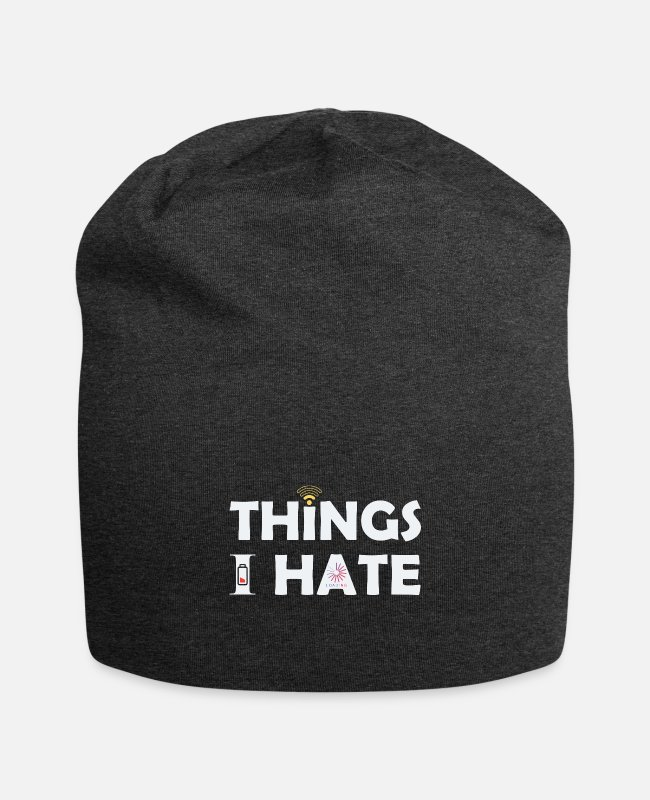 Laptop Caps & Hats - Things i hate internet charging battery - Beanie charcoal grey