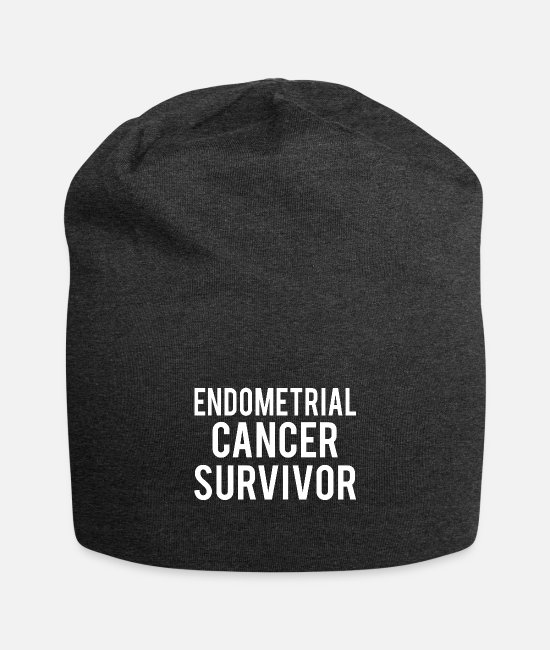 Ribbons Caps & Hats - Endometrial Cancer: Endometrial Cancer Survivor - Beanie charcoal grey