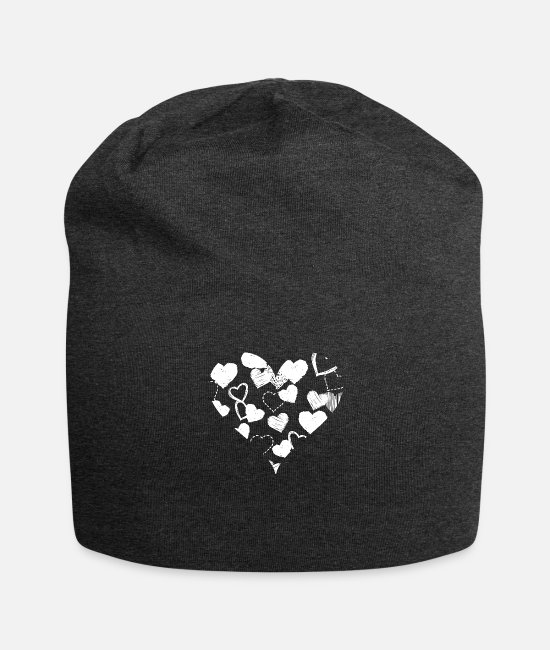 Heart Caps & Hats - Heart in the heart - Beanie charcoal grey