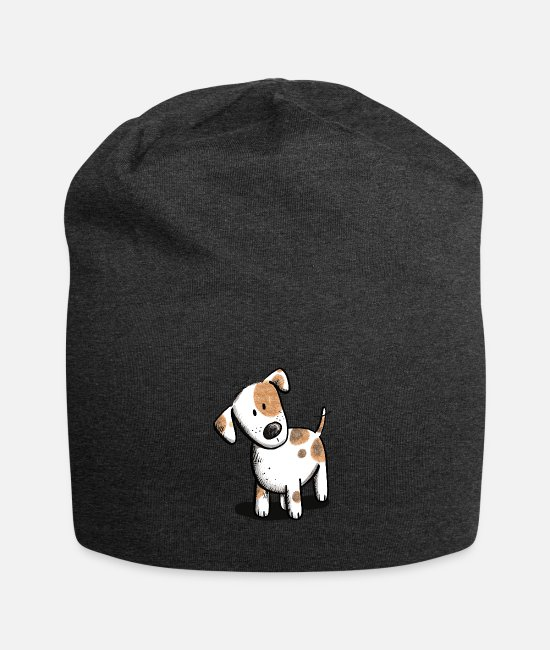 Friendship Caps & Hats - Little Jack Russell dog cartoon - Beanie charcoal grey