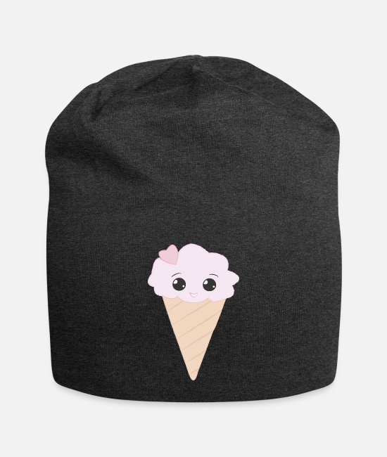 Beady Eyes Caps & Hats - Sweet pink ice cream cone with heart girl gift - Beanie charcoal grey