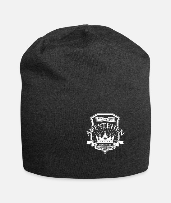 Crown Caps & Hats - Fall, get up, check Crown, walk on - Beanie charcoal grey