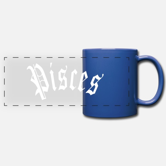 Birthday Mugs & Drinkware - Pisces Blackletter Constellation Horoscope Zodiac - Panoramic Mug royal blue