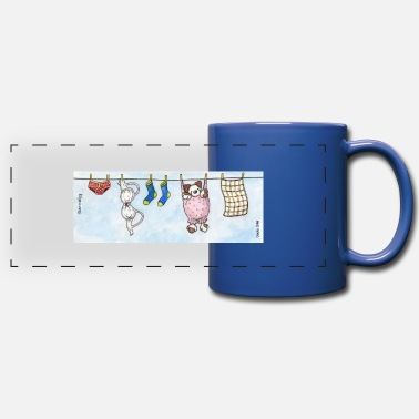 Long Underwear Mug - Cute Fluffy Dog 'Barnaby' on a Washing Line - Panoramic Mug