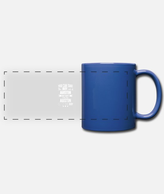 Usa Mugs & Drinkware - Can take the boy out of Austin but Can't take the - Panoramic Mug royal blue