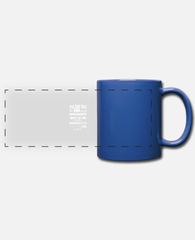 Usa Mugs & Drinkware - Can take the girl out of Massachusetts but Can't - Panoramic Mug royal blue