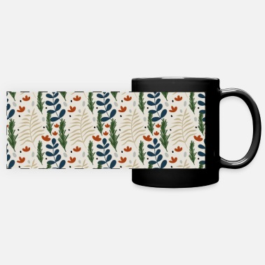 Floral Christmas Botanical Pattern Pretty Beige - Panoramic Mug
