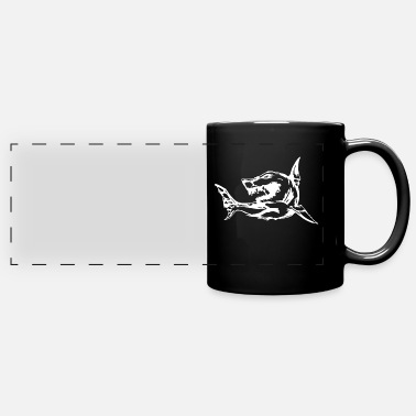 Shark. Animal print. Dangerous look. - Panoramic Mug