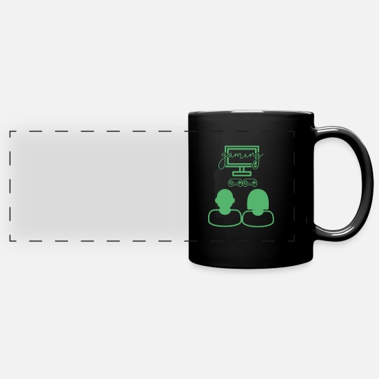 Gift Idea Mugs & Drinkware - Computer game Computer game Computer game - Panoramic Mug black