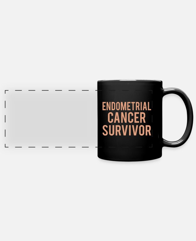 Ribbons Mugs & Drinkware - Endometrial Cancer: Endometrial Cancer Survivor - Panoramic Mug black