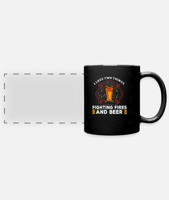 Fire Fighter Mugs & Drinkware - I Love Beer And Fighting Fires Fire Fighters - Panoramic Mug black