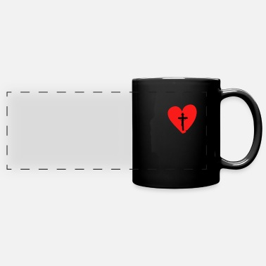 Believing Heart Cross Jesus Christus Catholic Christian Gift - Panoramic Mug