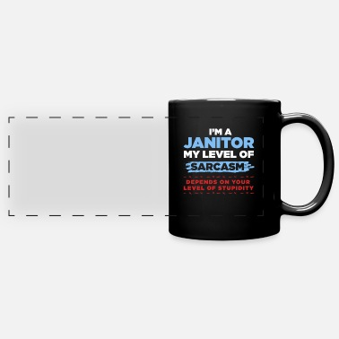New Job Janitor Level of Sarcasm Cleaners Cleaning Gift - Panoramic Mug