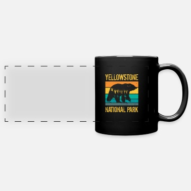 Mountains Yellowstone National Park vintage bear - Panoramic Mug