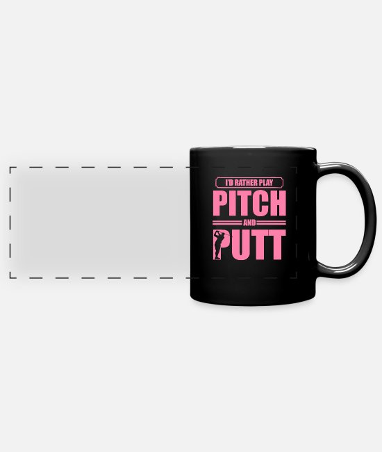 Cross Golf Mugs & Drinkware - Pitching Putting Golfer Pitch and Putt Golfing - Panoramic Mug black