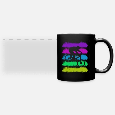 Mountain bike silhouette with retro colors - Panoramic Mug