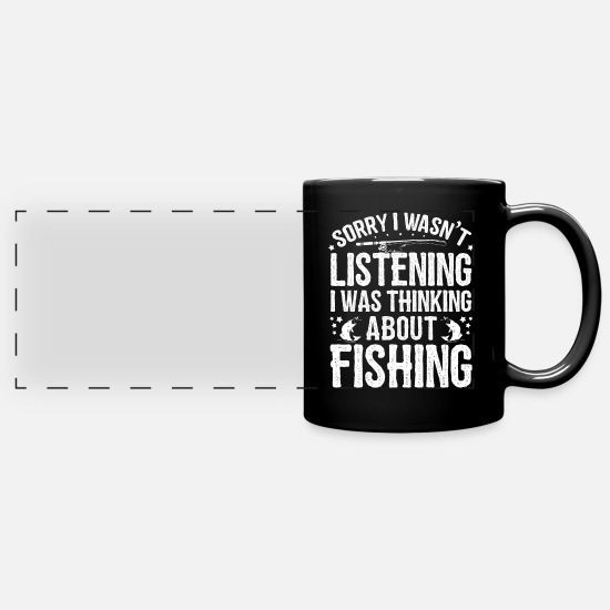 Rod Mugs et récipients - Was thinking about Fishing Fishing Shirts & Gifts - Mug panoramique noir