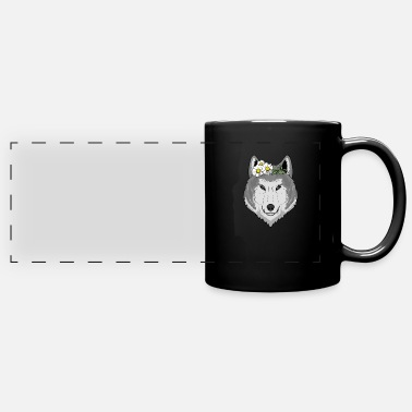Bouquet Cute wolf with flowers gift I wolves wilderness - Panoramic Mug