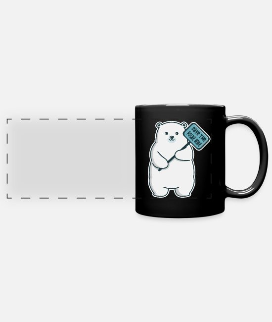 Meme Mugs & Drinkware - Polar Climate Protection Bear Earth CO2 Planet - Panoramic Mug black