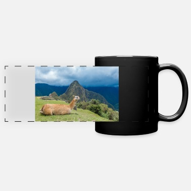Cusco Llama in front of Inca ruins Machu Picchu Peru - Panoramic Mug