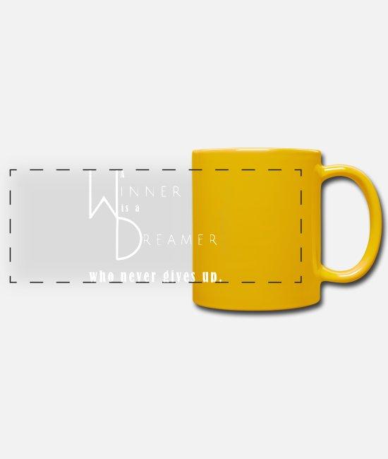 Luck Mugs & Drinkware - Winner Dreamer gift idea inspiration quote - Panoramic Mug sun yellow