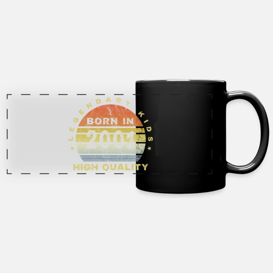 Birthday Mugs & Drinkware - Born in 2001 Millennium Children's Gift of a legal age - Panoramic Mug black