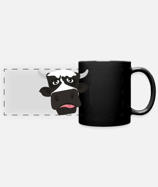 Alm Mugs & Drinkware - Funny TShirt with cow motif comic style tongue - Panoramic Mug black