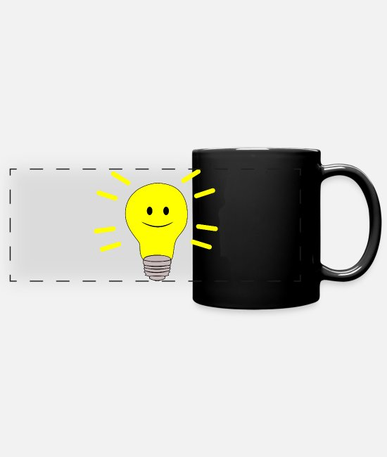 Beady Eyes Mugs & Drinkware - Olli pear - happy button eyes - Panoramic Mug black
