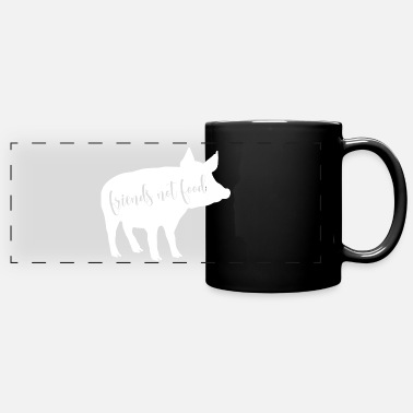 Animal FRIENDS NOT FOOD - cute white pig - Panoramic Mug