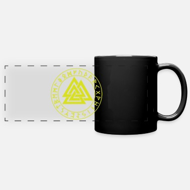 Mythology Wotansknoten Valknut In the rune circle Futhark - Panoramic Mug