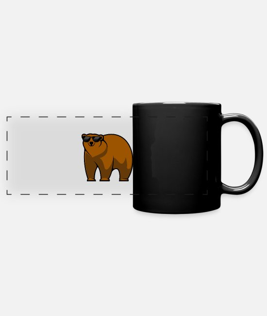 Animals Mugs & Drinkware - Brown bear bear with sunglasses - Panoramic Mug black