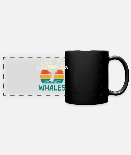 Whale Shark Mugs & Drinkware - Save the whales - blue whale sperm whale whale - Panoramic Mug black