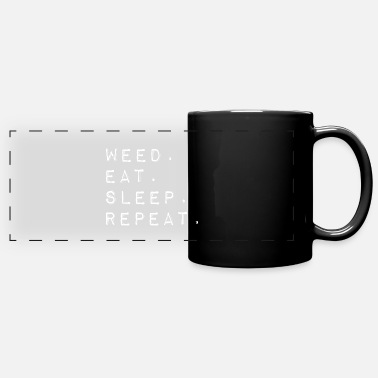 Schwarz weed eat sleep repeat English cannabis - Panoramic Mug
